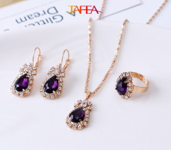 Purple color Necklace, Ring, Earrings, Pendant Jewelry 4 Pieces Set - RKM Shipping Free, Tax Free