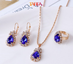 Blue color Necklace, Ring, Earrings, Pendant Jewelry 4 Pieces Set - RKM Shipping Free, Tax Free