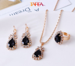 Black color Necklace, Ring, Earrings, Pendant Jewelry 4 Pieces Set - RKM Shipping Free, Tax Free