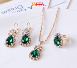 Green color Necklace, Ring, Earrings, Pendant Jewelry 4 Pieces Set - RKM Shipping Free, Tax Free