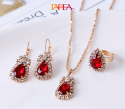 Red color Necklace, Ring, Earrings, Pendant Jewelry 4 Pieces Set - RKM Shipping Free, Tax Free