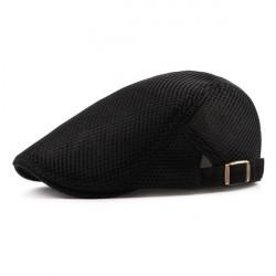 Black Flat Cap, Breathable Hat, Adjustable Newsboy Beret Cap - RKM Shipping Free, Tax Free